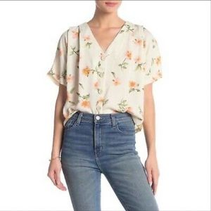 Elodie Ivory Button Up Floral Top